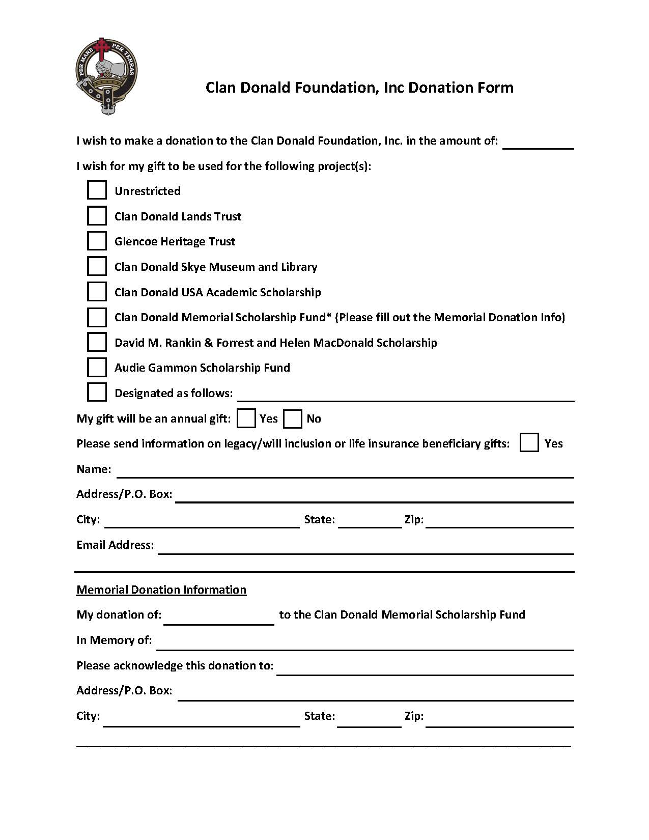 CD Foundation Donation Form